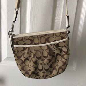 White and tan, Coach crossbody purse